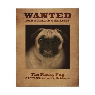 The Plucky Pug Wood Canvas