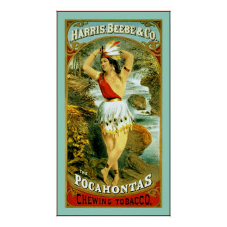 The Pocahontas Chewing Tobacco ~ 1868 Poster