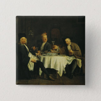 The Poet Alexis Piron  at the Table 15 Cm Square Badge