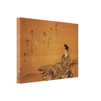 The poet by Hokusai Stretched Canvas Prints