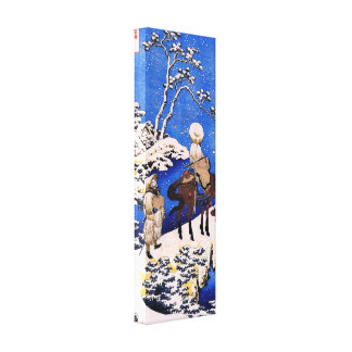 The poet Teba on a horse by Hokusai Canvas Print