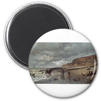 The Pointe de La Hève at Low Tide (1865) 6 Cm Round Magnet