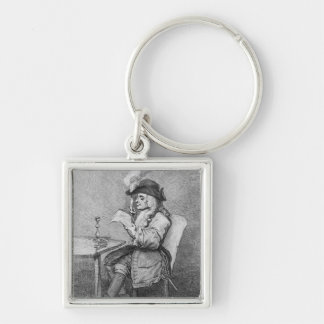 The Politician, etched by John Keyse Sherwin Silver-Colored Square Key Ring