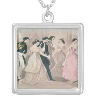 The Polka Fashions, from Godey's Lady's Book Silver Plated Necklace