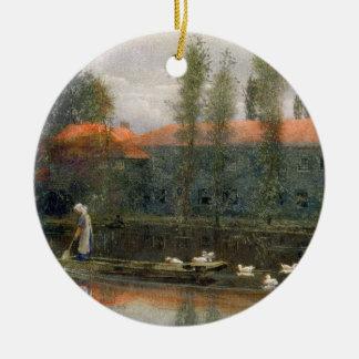 The Pond of William Morris Works at Merton Abbey ( Round Ceramic Decoration