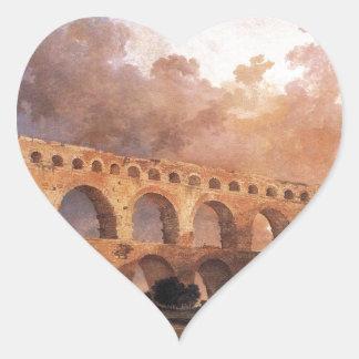 The Pont du Gard by Hubert Robert Heart Sticker
