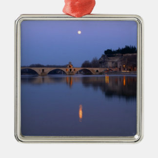 The Pont St. Benezet bridge in Avignon on the Silver-Colored Square Decoration