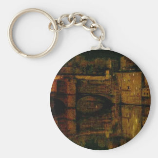 The Ponte Vecchio, Florence by William Holman Hunt Basic Round Button Key Ring