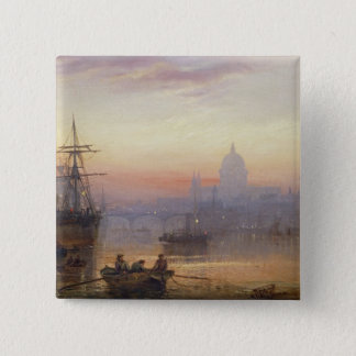 The Pool of London at Sundown, 1876 15 Cm Square Badge