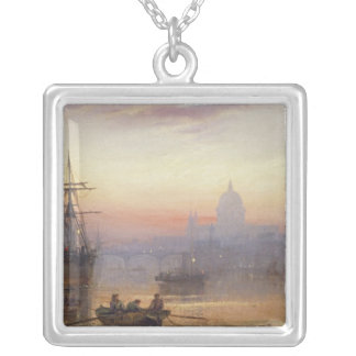 The Pool of London at Sundown, 1876 Silver Plated Necklace