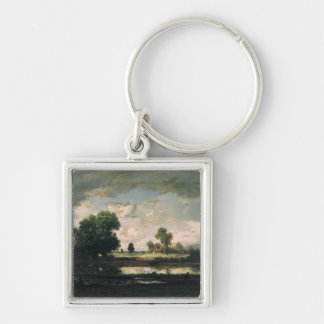 The Pool with a Stormy Sky, c.1865-7 Silver-Colored Square Key Ring