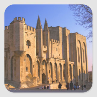 The Pope s Palace in Avignon with people Square Stickers