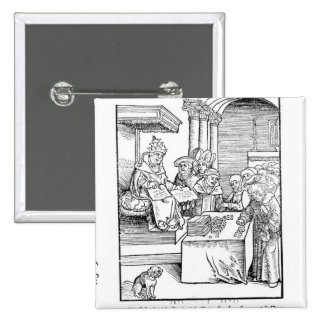 The Pope selling Indulgences 15 Cm Square Badge