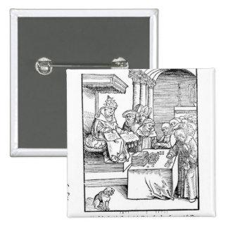 The Pope selling Indulgences 15 Cm Square Badge