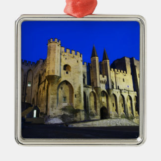 The Pope's Palace in Avignon at sunset. Built 2 Silver-Colored Square Decoration
