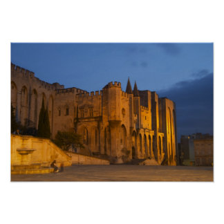 The Pope's Palace in Avignon at sunset. Built Poster