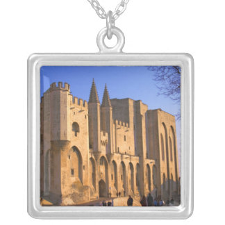 The Pope's Palace in Avignon with people Silver Plated Necklace