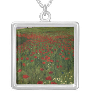 The Poppy Field, 1896 Silver Plated Necklace