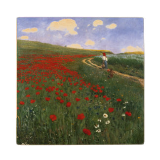 The Poppy Field Wood Coaster