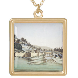 The port and town of Malacca, Malaysia, illustrati Gold Plated Necklace