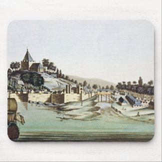 The port and town of Malacca, Malaysia, illustrati Mouse Mat
