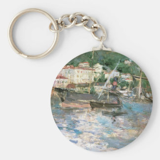 The Port, Nice by Berthe Morisot, Vintage Fine Art Basic Round Button Key Ring