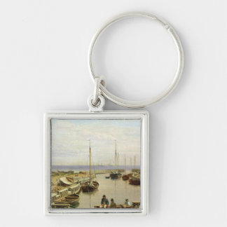 The Port of Dragor, 1826 Silver-Colored Square Key Ring