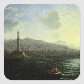 The Port of Genoa, Sea View Square Sticker