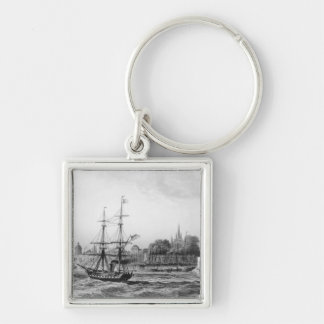 The Port of New Orleans Silver-Colored Square Key Ring