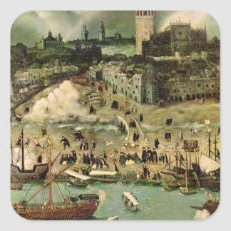 The Port of Seville, c.1590 Square Sticker