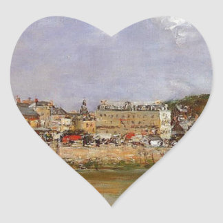 The Port of Trouville, the Market Place... Heart Sticker