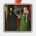 The Portrait of Giovanni Arnolfini Silver-Colored Square Decoration