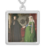 The Portrait of Giovanni Arnolfini Square Pendant Necklace