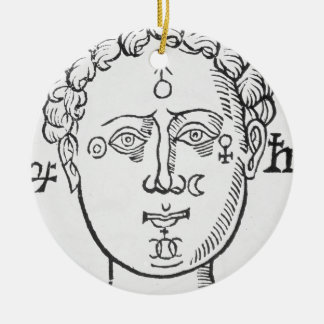 The Position of the Planets in the Human Head, cop Round Ceramic Decoration