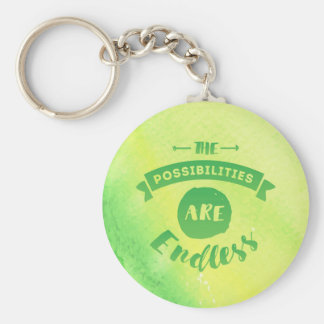The Possibilities are Endless Green Round Keychain