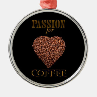 The poster with coffee beans on shape of heart christmas ornament