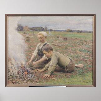 The Potato Gatherers, 1898 Poster