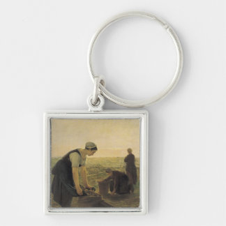 The Potato Harvest Silver-Colored Square Key Ring