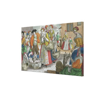 The Poultry Market (coloured engraving) Canvas Print