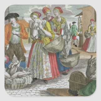 The Poultry Market (coloured engraving) Square Sticker