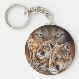 The Pouncing Cougars Basic Round Button Key Ring