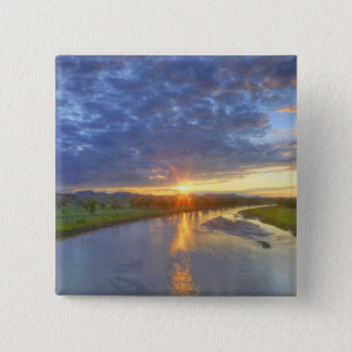 The Powder River catches last light in Custer 15 Cm Square Badge