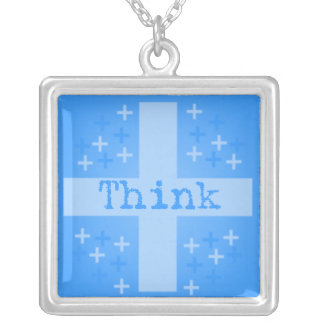 The Power of Positive Thinking Square Pendant Necklace