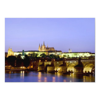 The Prague Castle and the Charles Bridge at Dusk 13 Cm X 18 Cm Invitation Card