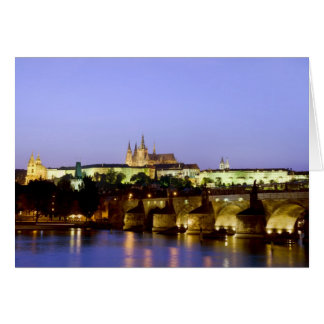 The Prague Castle and the Charles Bridge at Dusk Card