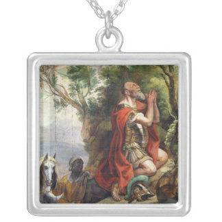 The Prayer of Gideon, cartoon for a tapestry Silver Plated Necklace