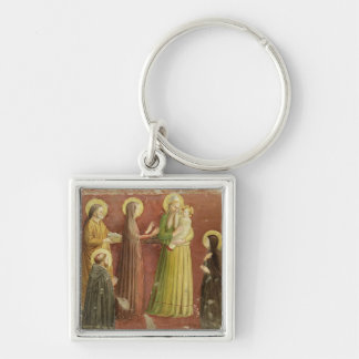 The Presentation in the Temple, from a series of p Silver-Colored Square Key Ring