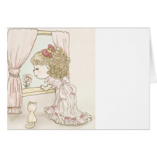 The pretty girl watches greeting card