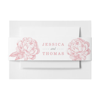 The Pretty Peony Floral Wedding Collection Invitation Belly Band