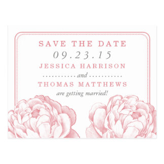 The Pretty Peony Floral Wedding Collection Postcard